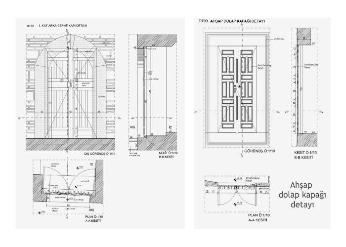 Turi Sina Manastır Kütüphanesi Pencere ve Kapı Çizimleri