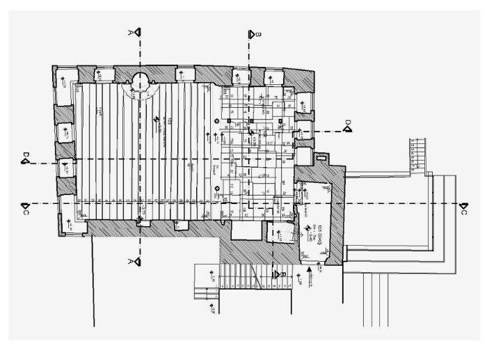 Tur-i Sina Manastır Kütüphanesi Ahşap Döşeme Planı